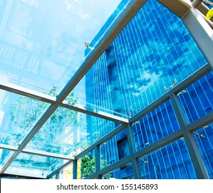 modern glass silhouettes on modern building.