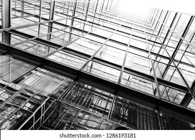 Modern glass skyscrapers perspective in the city