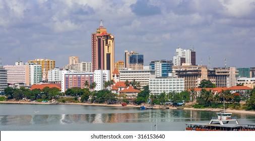 Modern Glass Skyscrapers Stand Alongside Older Buildings On Dar Es Salaams Coast
