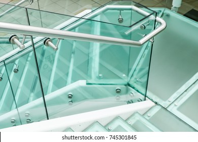 Modern Glass Stair with Nobody