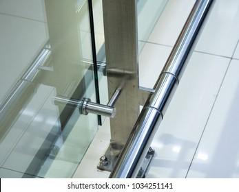 Modern glass and steel balcony,  Exterior, interior design.