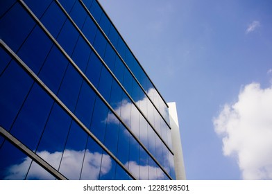 modern glass and steel building background