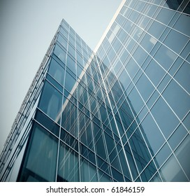 modern glass texture of mansion perspective view
