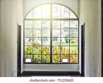 Modern glass window with garden view and sunlight.