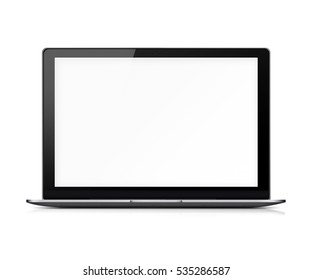 Modern glossy laptop with blank white screen, reflection and shadows isolated on white background. 3D illustration.