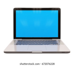 Modern Glossy Laptop Computer with Blank Blue Screen, White Aluminum Body, Generic Design Notebook on the Table, Personal Portable Laptop, E-Learning Illustration, Computer Blue Screen