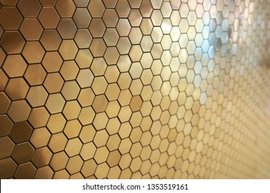 Modern Golden background template presentation with hexagon honeycomb pattern tile network system about future digital currency banking and financial of cryptocurrency business. Luxury glamour wall