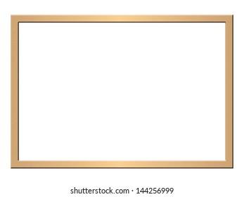Modern golden picture frame, brushed