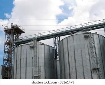 Modern grain elevator with silos tower.