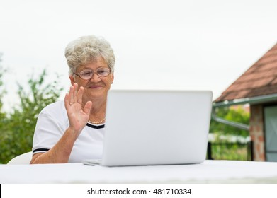 Modern grandma talking on the skype with family