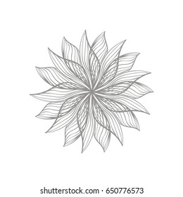 Modern graphic design of monochrome dahlia isolated on white background