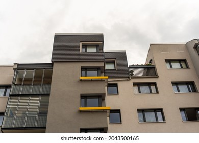modern gray anthracite refurbished facade in the city