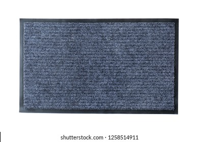 Modern gray doormat isolated on white, top view