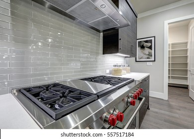Modern gray kitchen features stainless steel stove with a hood paired with glossy gray linear tile backsplash. Northwest, USA