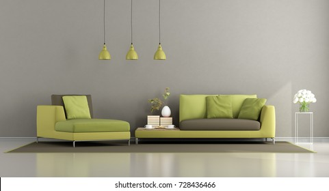 Modern green and brown living room with sofa and chaise lounge - 3d rendering
