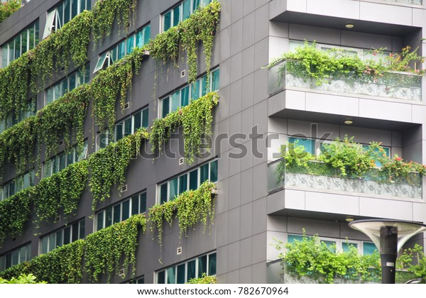 Modern green building climbing plant eco friendly building concept