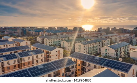 Modern green city powered only by renewable energy .