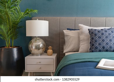 modern green color tone bedroom with set of pillows, interior design decoration concept