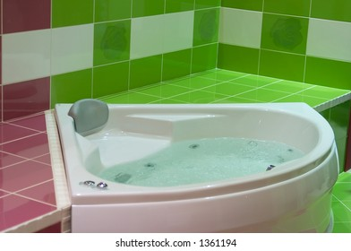 Modern green jacuzzi detail