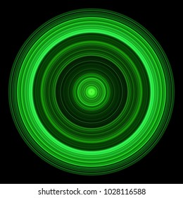 Modern green neon glowing concentric rings high energy technology circle design