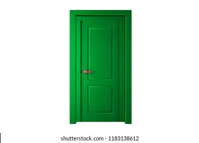 Modern green room door isolated on white background.