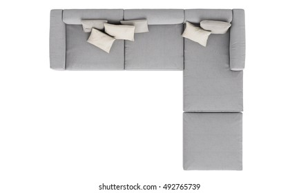 modern grey fabric sofa  isolated on white background , top view