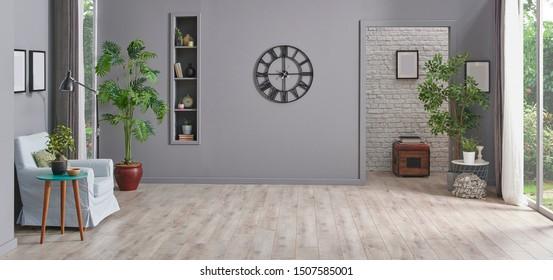 Modern grey interior rom, decorative background, carpet sofa house object, nobody empty room.