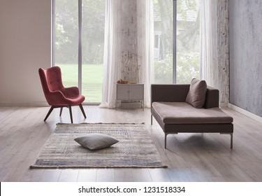 Modern grey living room grey stone wall and forest view background. Home chair and sofa decoration with carpet.