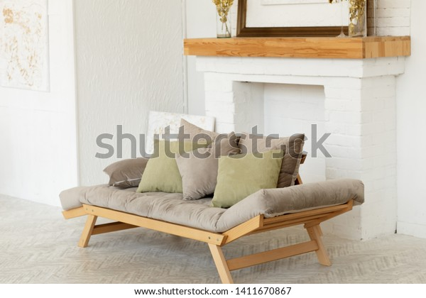 Groovy Modern Grey Sofa Green Pillows On Stock Photo Edit Now Theyellowbook Wood Chair Design Ideas Theyellowbookinfo