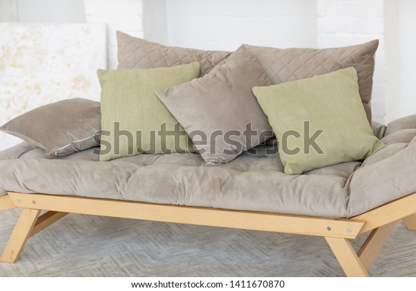 Stupendous Modern Grey Sofa Green Pillows On Stock Photo Edit Now Theyellowbook Wood Chair Design Ideas Theyellowbookinfo