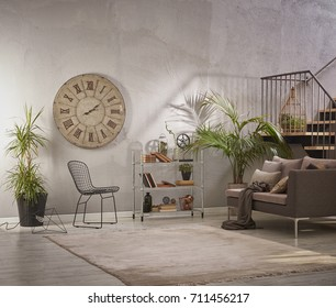 modern grey stone wall luxury living room and interior design with metal stairs