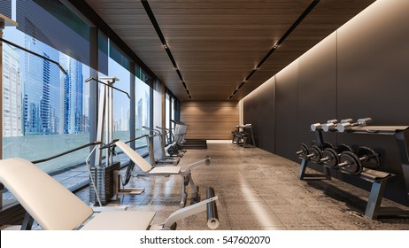 Modern gym with concrete floor / 3D Rendering