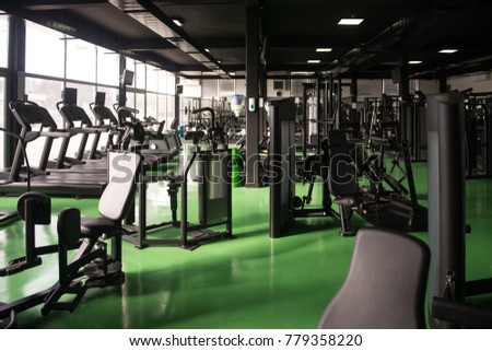 Modern gym room fitness center equipment stock photo edit now