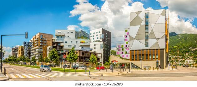 Modern habitation quarter along the Avenue des Martyrs, Grenoble, Isere, France, - 05, 21, 2018