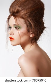 Modern hairstyle on luxury woman model, fashion spring summer bright make-up