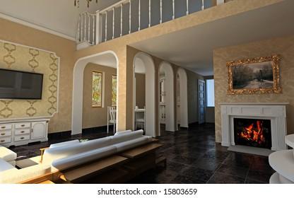 modern hall interior (3D rendering)