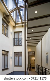 Modern hall interior in private house.  Hall, waiting room.