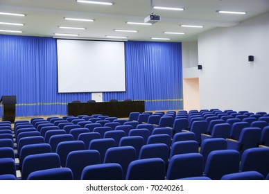 Modern hall for presentation with projection screen