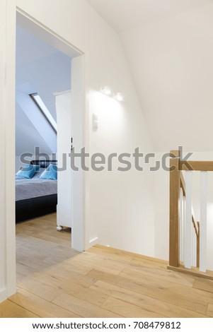 Modern Hallway Open Bedroom Door Stairs Stock Photo Edit Now Beauteous How To Open A Bedroom Door