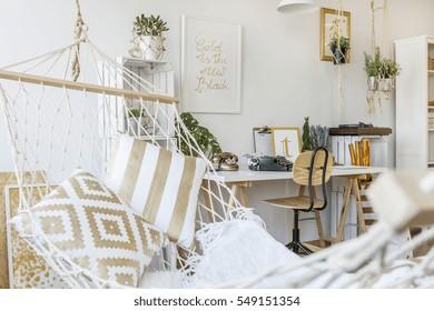 Modern hammock at living room interior
