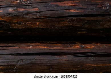 Modern Hand Hewn Natural Log Cabin Wall Facade Fragment Texture. Rustic Log Wall Horizontal Timber Background. Fragment Of Unpainted Wooden Debarked Logs Barn Or House Wall Wallpaper. Planed Wood