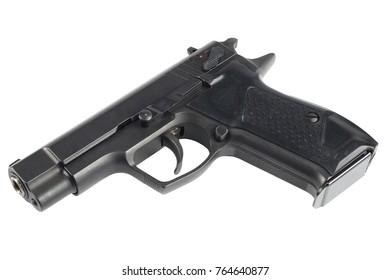 modern handgun isolated on white background