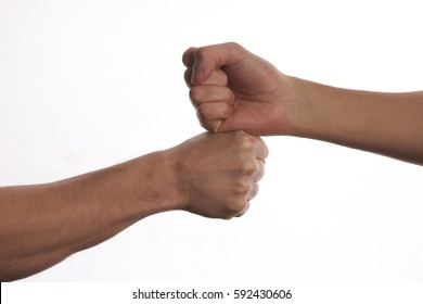 Modern handshake of two male people, isolated on white