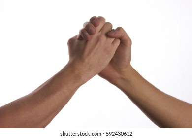 Modern handshake of two male people to show each other friendship and respect, isolated on white background.