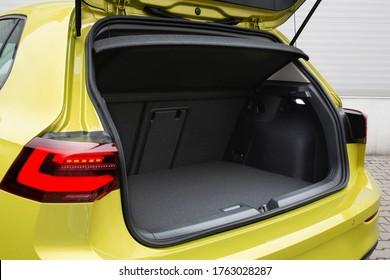 Modern hatchback car open trunk. Car boot is open for luggage  - Shutterstock ID 1763028287