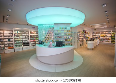 Modern health and pharmacy store. Rome, Italy - April 2016