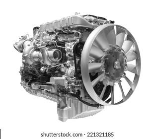 Motor diesel de caminhão pesado moderno isolado no fundo branco