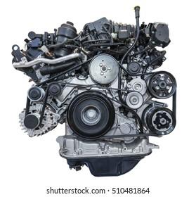 Modern heavy duty turbo diesel engine isolated on white