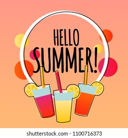 Modern hello summer banner background illustration with drinks