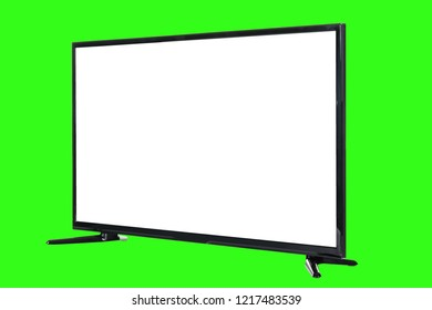 Modern high definition TV. LCD flat monitor with blank white screen, isolated on abstract blurred green chromakey background. Technology and 4k television advertising concept. Detailed studio closeup